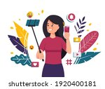 woman takes a selfie with a... | Shutterstock .eps vector #1920400181