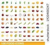 100 food icons set. cartoon... | Shutterstock .eps vector #1920400247