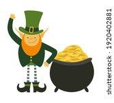 leprechaun with pot of gold. st ... | Shutterstock .eps vector #1920402881