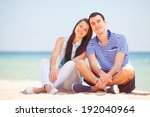 beautiful couple on the beach. | Shutterstock . vector #192040964
