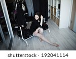 young athletic girl in her room ... | Shutterstock . vector #192041114