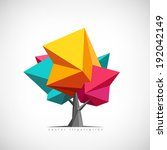 Conceptual polygonal tree. Abstract vector Illustration, low poly style. Stylized design element. Background design for poster, flyer, cover, brochure. Logo design. | Shutterstock vector #192042149