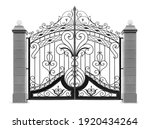 Gate With  Columns.  Isolated...