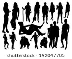 people silhouettes set | Shutterstock .eps vector #192047705