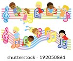 musical score and kids global  | Shutterstock .eps vector #192050861