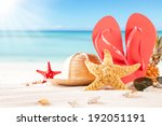 summer concept of sandy beach ... | Shutterstock . vector #192051191