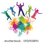 background with jumping and...   Shutterstock . vector #192053891