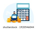 vector of a man sitting on a... | Shutterstock .eps vector #1920546044