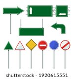 road direction signs on poles... | Shutterstock .eps vector #1920615551