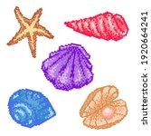 set of pixel art sea shells. 8... | Shutterstock .eps vector #1920664241