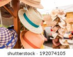 summer hats for sale at the... | Shutterstock . vector #192074105