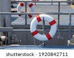 Lifebuoy Hanging On Steel Fence ...