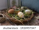 Easter Still Life. A Wicker...