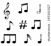 set of music notes isolated on... | Shutterstock .eps vector #192101327