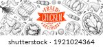 grilled and fried chicken. hand ... | Shutterstock .eps vector #1921024364