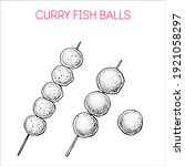 curry fish balls. hong kong... | Shutterstock .eps vector #1921058297