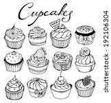 hand drawn cupcakes set | Shutterstock .eps vector #192106304
