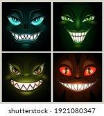 spooky nightmare ghost faces.... | Shutterstock .eps vector #1921080347