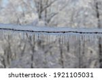 Icy Barb Wire Fence In Winter