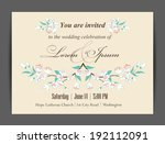 wedding invitation card with... | Shutterstock .eps vector #192112091
