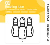 bowling ball icon with line...