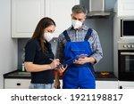 handyman plumber and customer... | Shutterstock . vector #1921198817