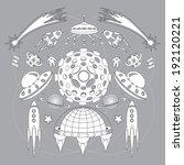 space objects  stars  rockets ...   Shutterstock . vector #192120221