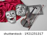 Comedy And Tragedy Masks With...