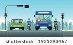 cars and motorcycles are... | Shutterstock .eps vector #1921293467