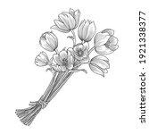 vector drawing bouquet tulip...   Shutterstock .eps vector #1921338377