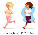 cute cartoon girl jogging | Shutterstock .eps vector #192134465