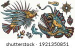 sea monsters. angler fish and...   Shutterstock .eps vector #1921350851