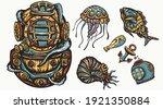 scuba diver helmet  jellyfish.... | Shutterstock .eps vector #1921350884