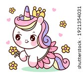 cute unicorn princess vector... | Shutterstock .eps vector #1921354031