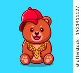 cute swag bear with hat and... | Shutterstock .eps vector #1921411127