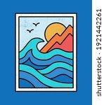 line style vector surfing badge ... | Shutterstock .eps vector #1921442261