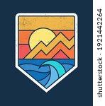 line style vector surfing badge ... | Shutterstock .eps vector #1921442264
