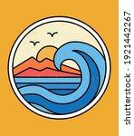 line style vector surfing badge ...   Shutterstock .eps vector #1921442267