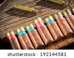 Closeup of belt with hunter bullets - stock photo