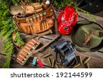 Equipment for hunting in forester lodge - stock photo