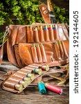 Cartridge belt and bag hunting - stock photo