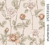 seamless pattern with roses...   Shutterstock .eps vector #1921531601