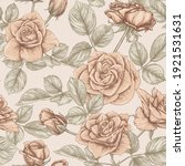 seamless pattern with roses...   Shutterstock .eps vector #1921531631