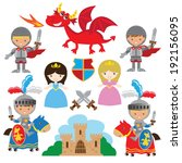 boy,cartoon,castle,colorful,cute,dragon,fairy,funny,girl,knight,medieval,people,princess,tale,vector