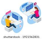isometric business data... | Shutterstock .eps vector #1921562831