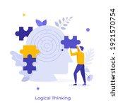 man assembling jigsaw puzzle... | Shutterstock .eps vector #1921570754