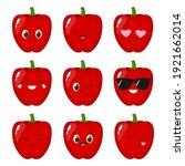 cute red sweet pepper emoji set....   Shutterstock .eps vector #1921662014