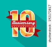 10 years anniversary... | Shutterstock .eps vector #192172817