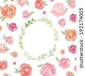 laurel wreath frame. watercolor ...   Shutterstock . vector #192174005
