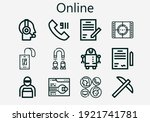 Premium set of online [S] icons. Simple online icon pack. Stroke vector illustration on a white background. Modern outline style icons collection of Call, Movie, Pick, Pass, Support, Delivery man